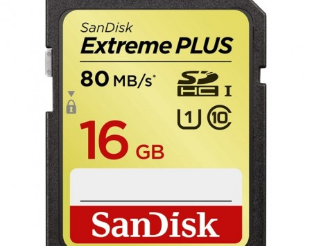 SanDisk Extreme Plus SDHC 16 GB 80 MBs class10, UHS-I