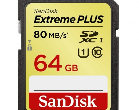 SanDisk Extreme Plus SDXC 64 GB 80 MBs class10, UHS-I
